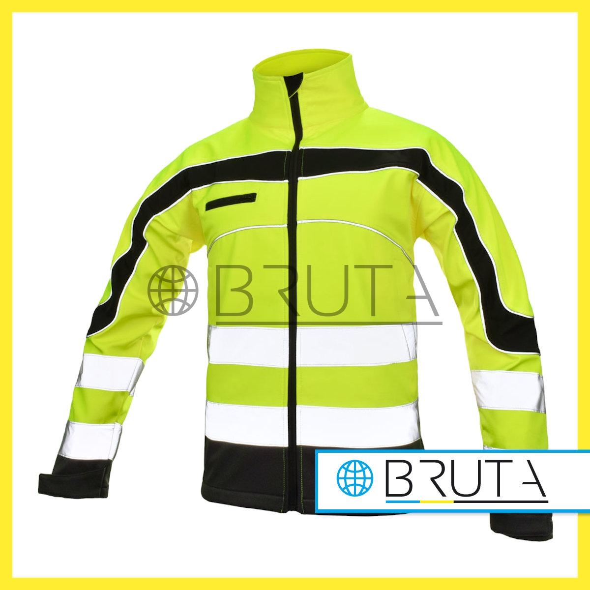 Kurtka Shoftshell Softflex, fluorescencyjna, pasy odblaskowe